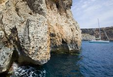 Malta cliffs at sea level Stock Photography
