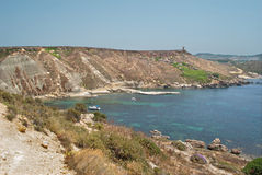 Malta - Coast Garrigue Steppe, Plaz Gnajn Tuffiena Bay Stock Image