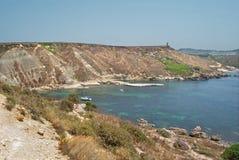 Malta - Coast Garrigue Steppe, Plaz Gnajn Tuffiena Bay Stock Image