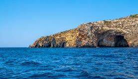 Malta Coastline. Blue Grotto caverns in the Malta coastline Royalty Free Stock Photography