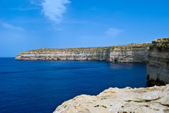 Malta coastline - Mediterranean Sea. Scenic landscape overlooking the Maditerranean Sea and  rocky coast of Gozo Island, Malta Royalty Free Stock Photography