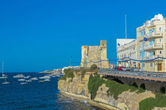 Malta, Coastline view. Panoramic view of the old fishing village of St Pauls Bay, San Pawl il-Baħar, Malta Stock Images