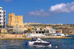 Malta, Coastline view. Panoramic view of the old fishing village of St Pauls Bay, San Pawl il-Baħar, Malta Stock Image