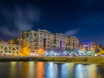 Malta - Colorful lights of the beautiful Balluta Bay. By night Stock Photos