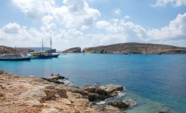 Malta, Comino: Famous, scenic Blue Lagoon Beach Stock Photo