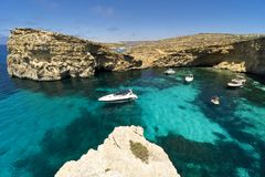 Malta, Comino island, panoramic view of the cliffs and the sea. Comino island, panoramic view of the cliffs and the sea Stock Photo