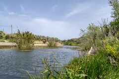 Malta countryside Chadwick Lakes. The lakes consists of a number of dams constructed by Sir Osbert Chadwick, a British Engineer, in the late 19th Century Royalty Free Stock Images