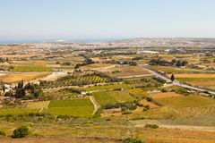 Malta Countryside, Mdina. View of the Malta countryside from Mdina looking toward Mosta Royalty Free Stock Images