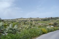 Malta countryside Id-Dwejra view. Malta countryside near Chadwick Lakes. Chadwick Lakes are a number of dams, pouring into each other, on the island of Malta Royalty Free Stock Photography
