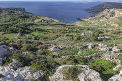 Malta Countryside View. A typical Mediterranean view of the beautiful Malta coast and countryside Stock Photo