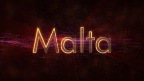 Malta - de Glanzende het van een lus voorzien animatie van de de naamtekst van het land royalty-vrije stock afbeelding
