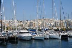Malta den pittoreska fjärden av Valletta Fotografering för Bildbyråer