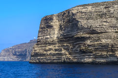 Malta, Dingli Cliffs. Breathtaking, spectacular, rugged, 220-250m-high cliffs on the south coast of the mainland island seen from a boat, Dingli Cliffs, Malta Stock Photos