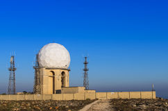 Malta, Dingli Cliffs. Radar station perched on the edge of the Dingli Cliffs in the vicinity of Dingli, Malta Stock Image