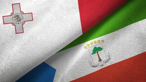 Malta and Equatorial Guinea two flags textile cloth, fabric texture. Malta and Equatorial Guinea two folded flags together stock illustration