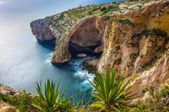 Malta - The famous arch of Blue Grotto cliffs with green leaves. On a sunny day Stock Images