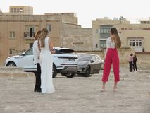 Malta Fashion Week 2019 at Fort St Elmo. VALLETTA, MALTA - CIRCA MAY 2019: Malta Fashion Week 2019 at Fort St Elmo, arrival of participants at the entrance royalty free stock images