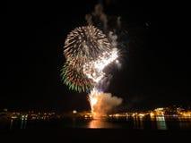 Malta-Feuerwerk-Festival nachts 2010 Stockbild