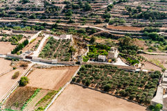 Malta - fields and meadows. Malta - countryside from aircraft, fields and meadows Royalty Free Stock Photo