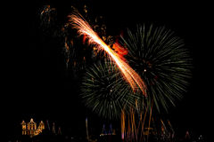 Malta Fireworks display. Pyrotechnics display for the feast of Our Lady, celebrated on the 15th August in many villages in Malta. This is the fireworks display Stock Photography