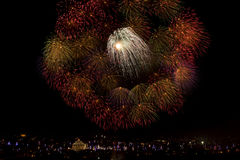 Malta Fireworks display. Pyrotechnics display for the feast of Our Lady, celebrated on the 15th August in many villages in Malta. This is the fireworks display Royalty Free Stock Image