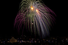 Malta Fireworks display. Pyrotechnics display for the feast of Our Lady, celebrated on the 15th August in many villages in Malta. This is the fireworks display Royalty Free Stock Photos