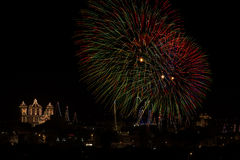 Malta Fireworks display. Pyrotechnics display for the feast of Our Lady, celebrated on the 15th August in many villages in Malta. This is the fireworks display Stock Photo