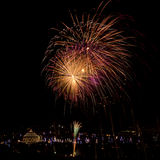 Malta Fireworks display. Pyrotechnics display for the feast of Our Lady, celebrated on the 15th August in many villages in Malta. This is the fireworks display Royalty Free Stock Photography