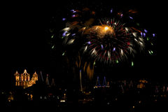 Malta Fireworks display. Pyrotechnics display for the feast of Our Lady, celebrated on the 15th August in many villages in Malta. This is the fireworks display Royalty Free Stock Photo