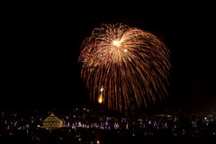 Malta Fireworks display. Pyrotechnics display for the feast of Our Lady, celebrated on the 15th August in many villages in Malta. This is the fireworks display Stock Photos