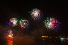 Malta Fireworks Festival. Beautiful, colorful lights in the night sky Royalty Free Stock Photography