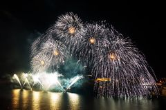 Malta Fireworks Festival. Beautiful, colorful lights in the night sky Royalty Free Stock Photo