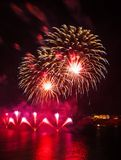 Malta Fireworks Festival. Beautiful, colorful lights in the night sky Royalty Free Stock Images