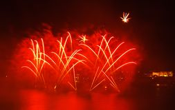 Malta Fireworks Festival. Beautiful, colorful lights in the night sky Royalty Free Stock Photos
