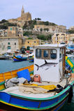 Malta Fishing Boats In The Mgarr Village Stock Photography