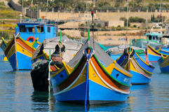 Malta fishing boats in the Marsaxlokk village Stock Photography
