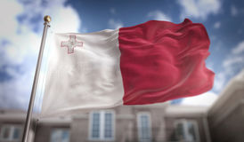 Malta Flag 3D Rendering on Blue Sky Building Background. Digital Art Stock Photos