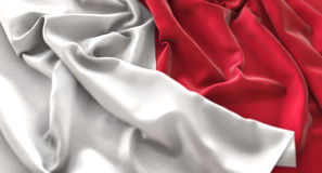 Malta Flag Ruffled Beautifully Waving Macro Close-Up Shot. Studio Stock Photos