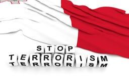 Malta flag and text stop terrorism. Royalty Free Stock Photo