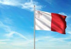 Malta flag waving with sky on background realistic 3d illustration. Maltese national flag realistic waving blue sky background 3d illustration Royalty Free Illustration