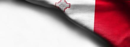 Malta flag waving on white background - right top corne. R flag Stock Images
