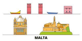 Malta flat landmarks vector illustration. Malta line city with famous travel sights, skyline, design. Malta flat landmarks vector illustration. Malta line city stock illustration