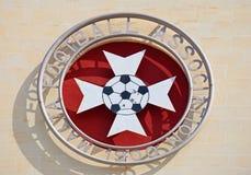 Malta Football Association Emblem. Malta football association emblem on the front of the Centenary Stadium, Attard, Malta, Europe Stock Image