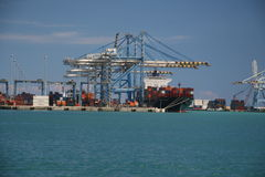 The Malta Freeport. Harbor with container cranes Royalty Free Stock Image