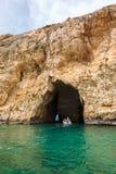 Malta Gozo ö, Dwejra inre lagun Arkivbilder