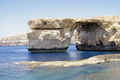 Malta.Gozo. Azurblaues Fenster. Stockfotografie