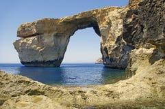 Malta.Gozo. Azuurblauw venster. Royalty-vrije Stock Foto's