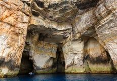 Malta,  Gozo Island, view of the rocky coastline. Malta, Gozo Island, one of the caves of the rocky coastline of the island at Dwejra Royalty Free Stock Image