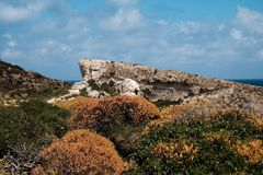 Malta and Gozo islands as tourist destinations. Rocks and bushes on Gozo Island hidden part, Malata Royalty Free Stock Image