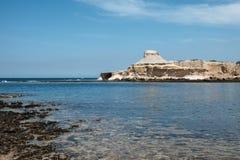 Malta and Gozo islands as tourist destinations. Yellow sandstone rocks near to Marsalforn, Gozo island, Malta Royalty Free Stock Photo